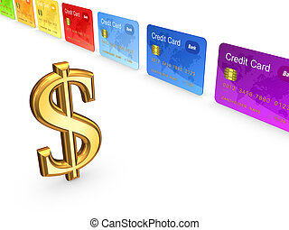 Sign of dollar and colorful credit cards.