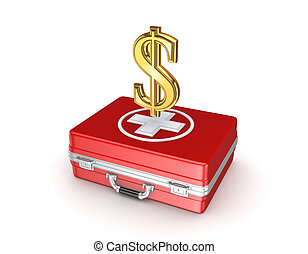 Sign of dollar on a red medical case.