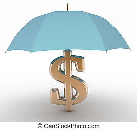 sign of dollar with an umbrella