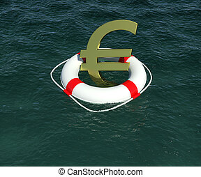 Sign of European currency in rescue disk floats on water. 3d rendering