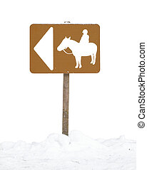 Sign of horse trail in the snow - Sign for a horse trail,...