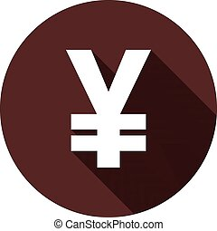 Sign of Japanese yen with shadow on a circle of dark red color, vector