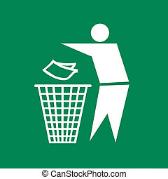 Sign of Keep Clean and Litter bin, symbol