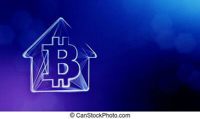 Sign of logo bitcoin inside the emblem of the house....