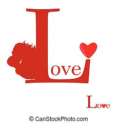 sign of love on red vector