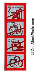 Sign of no food and drink and no pet and no photo and no smoking isolated on white background