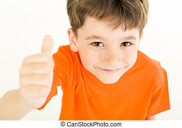 Sign of okay - Image of young boy raising hand and showing...