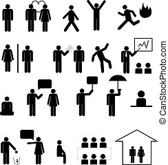 Sign of people life set.businessman group, work human pictograms on white.General people sign vector.