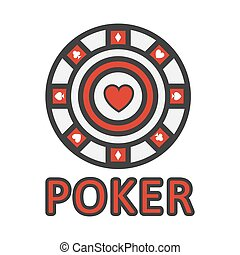 Sign of poker red and white chip flat design. Vector