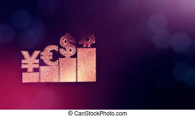 Sign of pound dollar yen bitcoin on columns. Financial...
