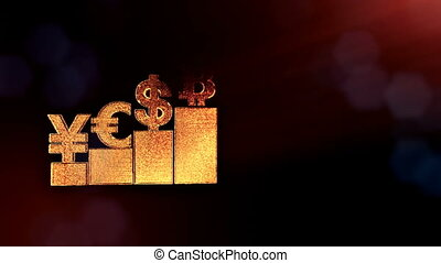 Sign of pound dollar yen bitcoin on columns. Financial background made of glow particles as vitrtual hologram. Shiny 3D loop animation with depth of field, bokeh and copy space. Dark version 3