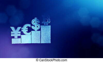 Sign of pound dollar yen bitcoin on columns. Financial background made of glow particles as vitrtual hologram. Shiny 3D loop animation with depth of field, bokeh and copy space. Blue color v2