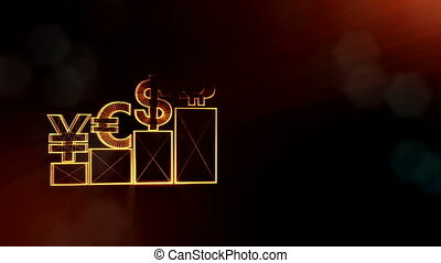 Sign of pound dollar yen bitcoin on columns. Financial background made of glow particles as vitrtual hologram. Shiny 3D loop animation with depth of field, bokeh and copy space. Dark V4