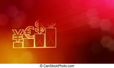 Sign of pound dollar yen bitcoin on columns. Financial background made of glow particles as vitrtual hologram. Shiny 3D loop animation with depth of field, bokeh and copy space. Red v5