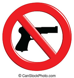 Illustration of the sign to ban weapons on a white background.
