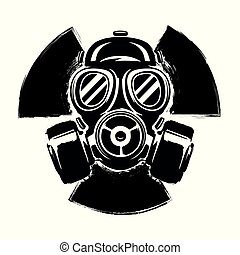 Sign of radioactivity with gas mask: the concept of pollution and danger. Gas Mask grunge vector illustration. Radioactive sign. Radioactive hazard. Radioactive accident.