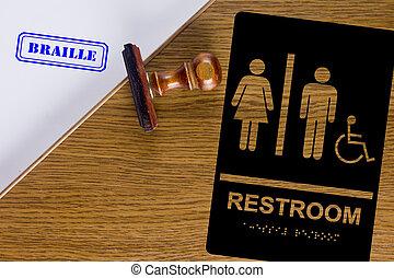 Restroom sign Braille