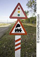 Sign of semaphore and train