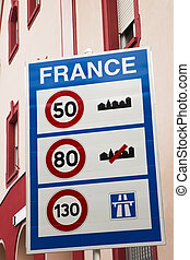 View at sign of speed limits at the French border