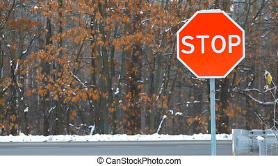 Sign of Stop with traffic cars