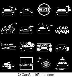 Sign of stripe pattern car wash