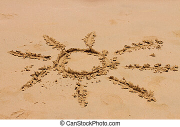 sign of sun on sand