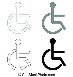 Sign of the disabled the black and grey color set icon .