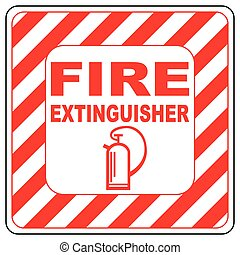 Sign of the fire extinguisher in vector, isolated over white
