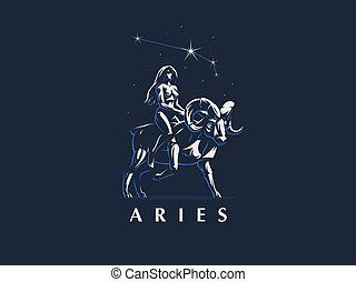 Sign of the zodiac Aries. The girl rides on Ram. Vector emblem.