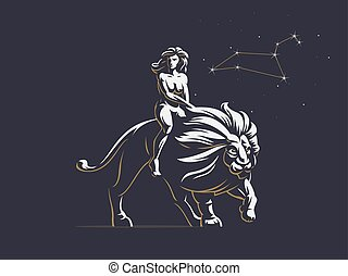 Sign of the zodiac Leo. A woman is riding a lion.
