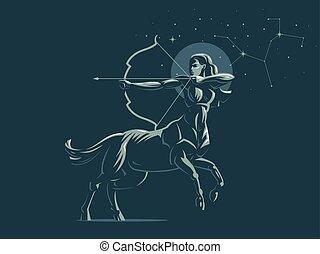Sign of the zodiac Sagittarius. The constellation of Sagittarius. Vector illustration.