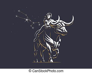 Sign of the zodiac Taurus. Bull. Vector illustration.