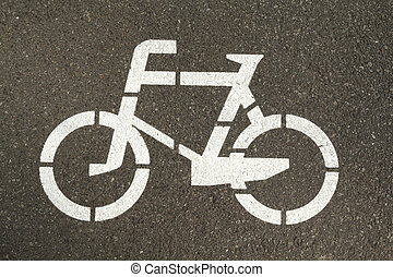 Sign on a bike lane