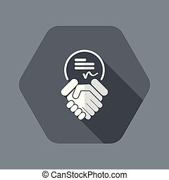 Sign on agreement document - Flat and isolated vector ...