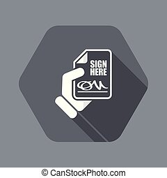Sign on document - Flat and isolated vector illustration ...