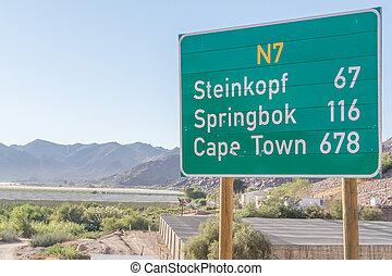 Sign on N7 road in South Africa - Sign at N 7 road near...