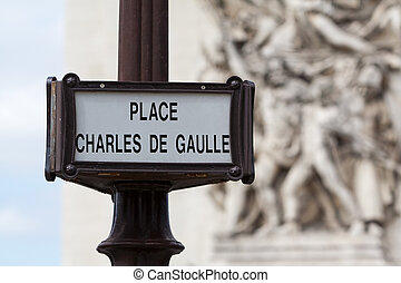 Sign on Place Charles De Gaulle - Old sign on Place Charles...