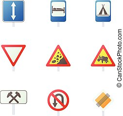 Sign on road icons set, cartoon style