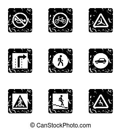 Sign on road icons set, grunge style