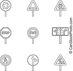 Sign on road icons set, outline style