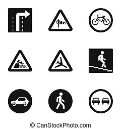 Sign on road icons set, simple style