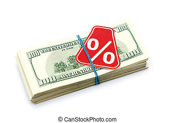 Sign % on the background of one hundred dollar bills