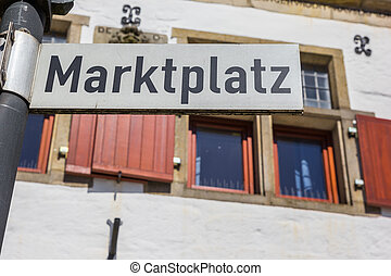 Sign on the central market square of Rheine