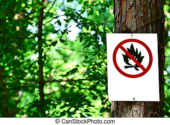 Sign on tree in forest - Prohibited fire concept