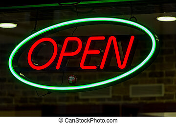 sign open - open sign shows the open business on