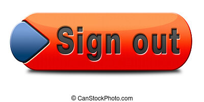 sign out button or user or member logout icon or banner