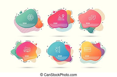 Sign out, Credit card and Roller coaster icons. Approve sign. Logout, Card payment, Attraction park. Vector