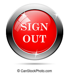 Sign out icon with white on red background