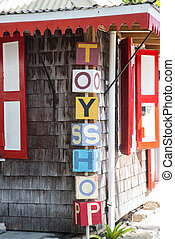 Sign Outside Old Toy Shop - Colorful sign outside an old toy...