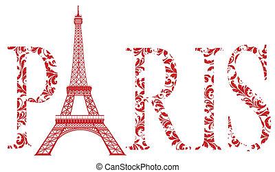 sign Paris with eiffel tower - red sign Paris as vintage...